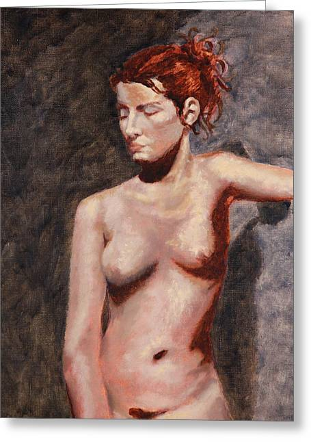 Shelley Irish Greeting Cards - Nude French Woman Greeting Card by Shelley  Irish