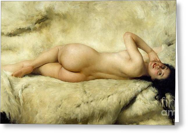 Art Galleries Greeting Cards - Nude Greeting Card by Giacomo Grosso