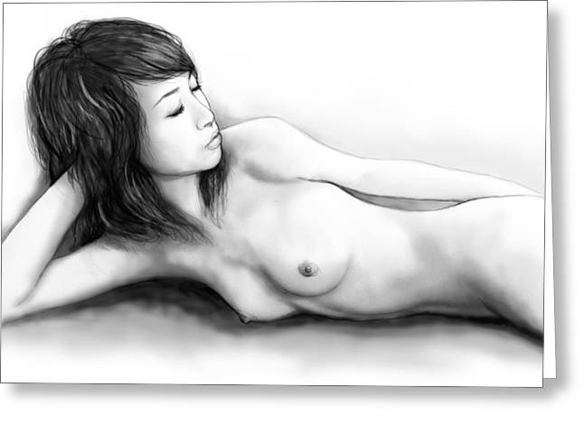 Nude Drawings Drawings Greeting Cards - Nude Girl Drawing Art Sketch - 2 Greeting Card by Kim Wang