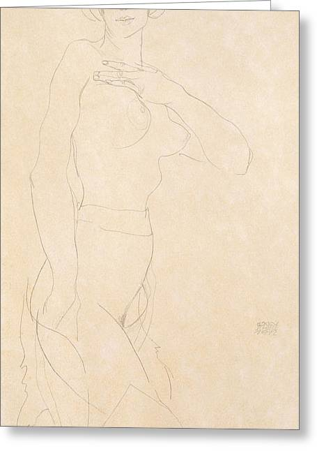 Schiele Drawings Greeting Cards - Nude Girl Greeting Card by Egon Schiele