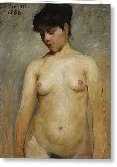 Chest Paintings Greeting Cards - Nude Girl Greeting Card by Lovis Corinth