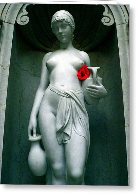 Hand On Waist Greeting Cards - Nude Girl With Her Red Rose Greeting Card by Jeff Lowe