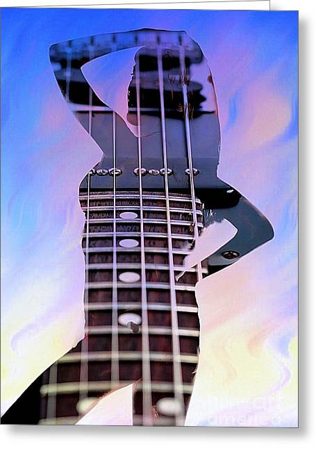 Swimsuit Mixed Media Greeting Cards - Nude Guitar Greeting Card by M and L Creations