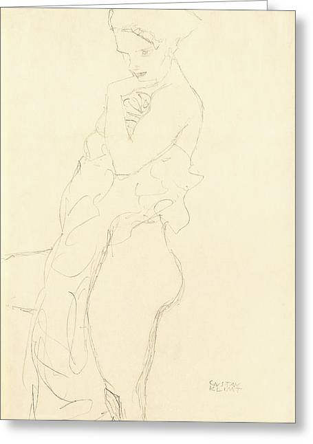 Etching Greeting Cards - Nude Greeting Card by Gustav Klimt