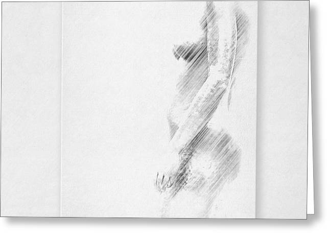 Female Body Mixed Media Greeting Cards - Nude Greeting Card by Heike Hultsch