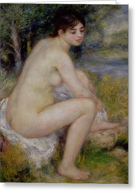 Renoir Greeting Cards - Nude in a Landscape Greeting Card by Pierre Auguste Renoir