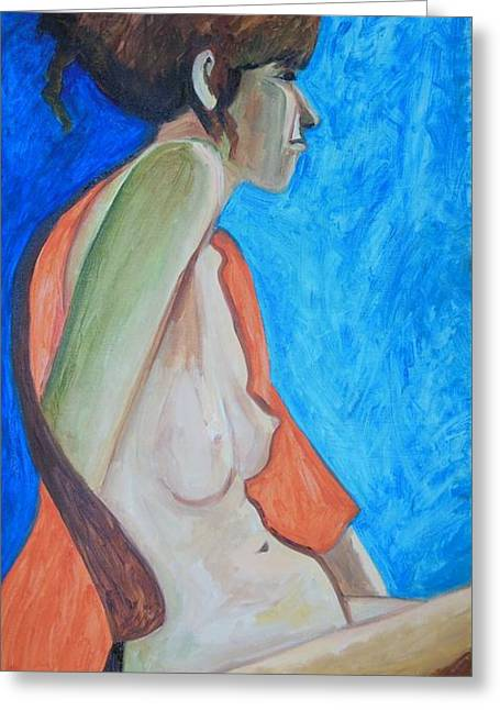 Posters Of Nudes Paintings Greeting Cards - Nude in Blue and Orange Greeting Card by Esther Newman-Cohen
