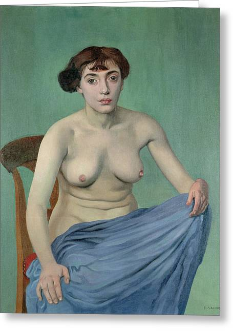 Scar Greeting Cards - Nude In Blue Fabric, 1912 Greeting Card by Felix Edouard Vallotton