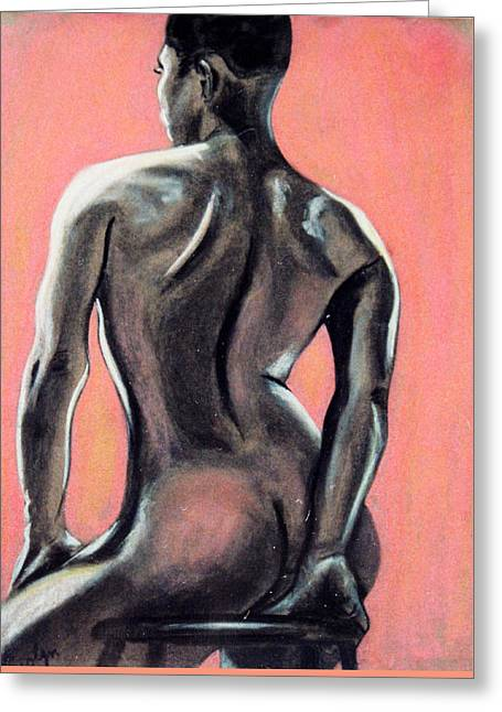 African-american Pastels Greeting Cards - Nude in Pink and Charcoal Greeting Card by Asha Carolyn Young