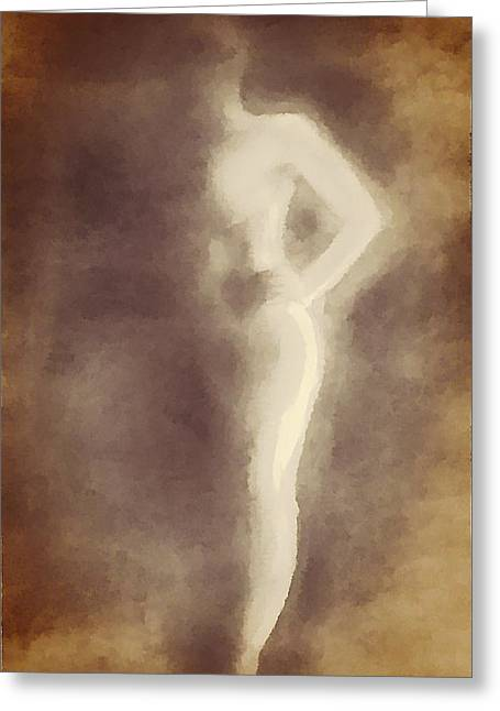 Nude In Shadow 2 Greeting Card by Victoria Fischer
