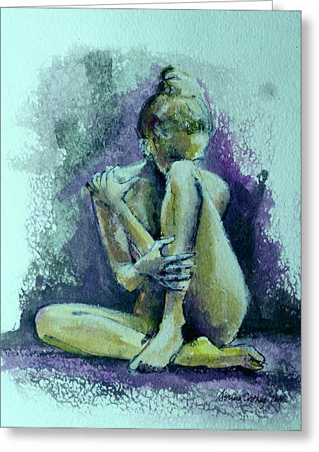 Nude Fantasy Greeting Cards - Nude in Violet Shadow Greeting Card by Dorina  Costras