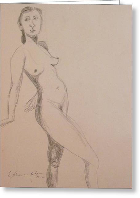 Abstract Style Greeting Cards - Nude Leaning Back Greeting Card by Esther Newman-Cohen