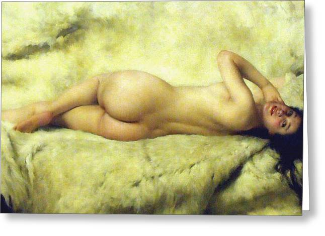 Old Masters Greeting Cards - Nude Lying Greeting Card by Giacomo Grosso