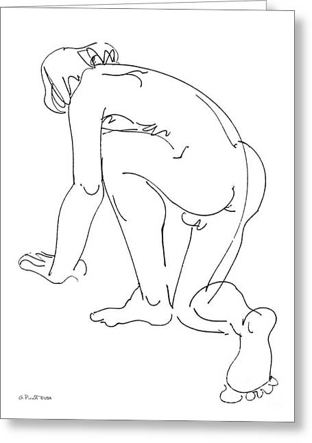 Sex Drawings Greeting Cards - Nude-Male-Art-20 Greeting Card by Gordon Punt