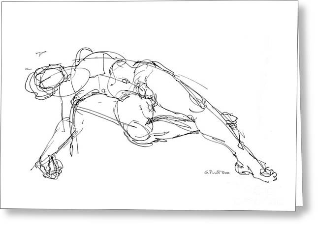 Erotic Male Drawings Greeting Cards - Nude Male Drawings 1 Greeting Card by Gordon Punt