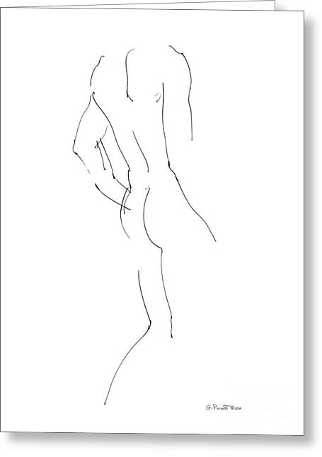 Fine Line Drawings Greeting Cards - Nude Male Drawings 2 Greeting Card by Gordon Punt