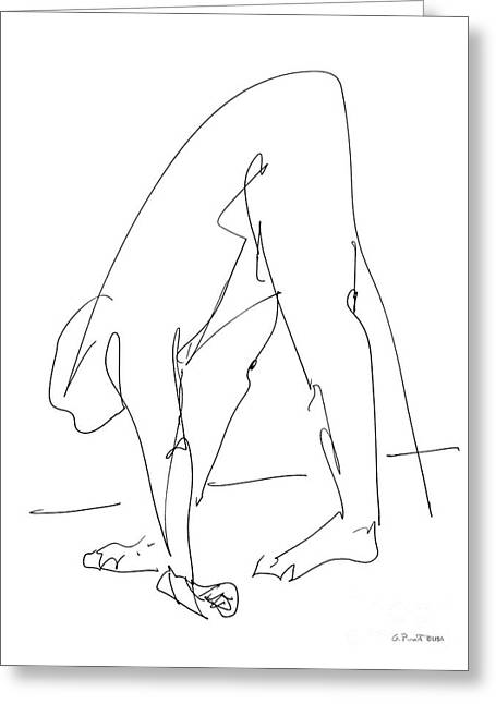 Erotic Male Drawings Greeting Cards - Nude Male Drawings 32 Greeting Card by Gordon Punt