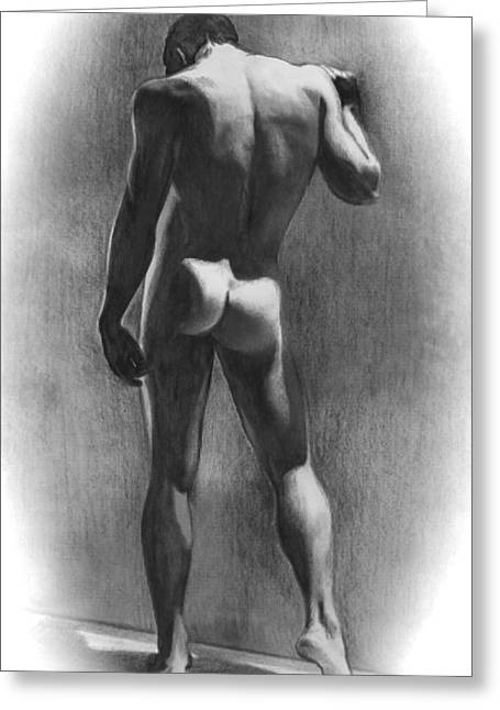 Pencil Nude Greeting Cards - Nude Man in Contemplation Drawing Greeting Card by Karon Melillo DeVega