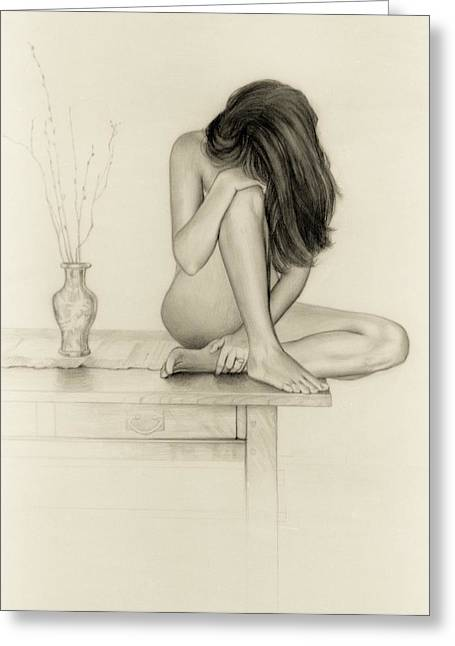 Interior Still Life Drawings Greeting Cards - Nude Greeting Card by Mark  Leavitt