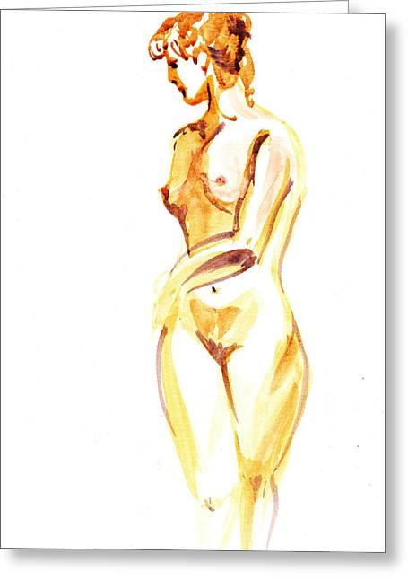 Gestures Greeting Cards - Nude Model Gesture II Greeting Card by Irina Sztukowski