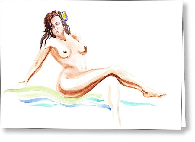 Gestures Greeting Cards - Nude Model Gesture IX Hawaiian Breeze Greeting Card by Irina Sztukowski