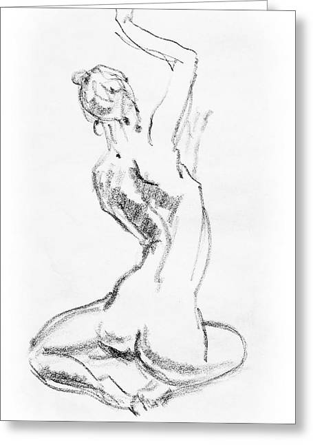 Gestures Greeting Cards - Nude Model Gesture V Greeting Card by Irina Sztukowski