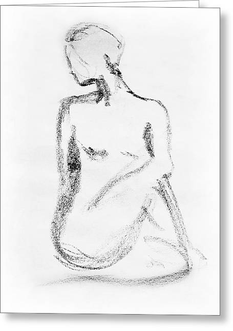 Skin Tones Greeting Cards - Nude Model Gesture VI Greeting Card by Irina Sztukowski