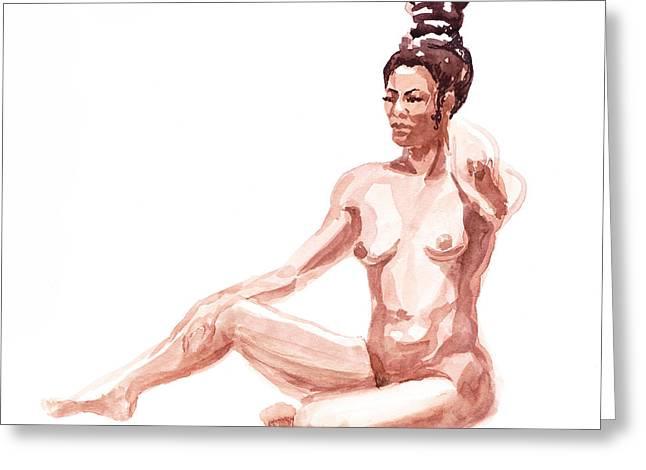 Gestures Greeting Cards - Nude Model Gesture X Greeting Card by Irina Sztukowski