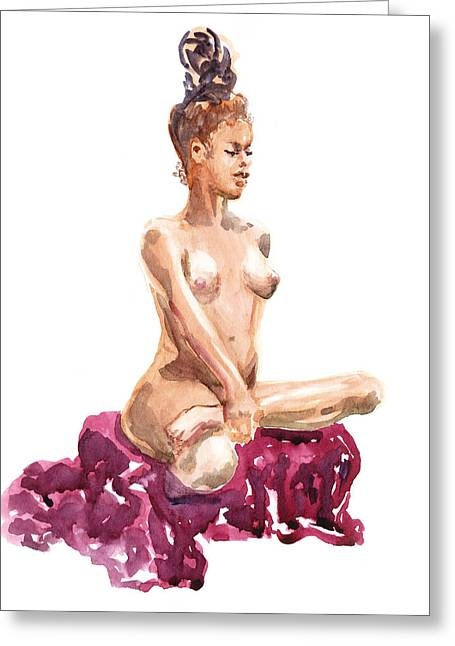Skin Tones Greeting Cards - Nude Model Gesture XI Royal Garnet Greeting Card by Irina Sztukowski