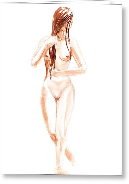 Long Hair Nude Greeting Cards - Nude Model Gesture XIII Morning Flow Greeting Card by Irina Sztukowski