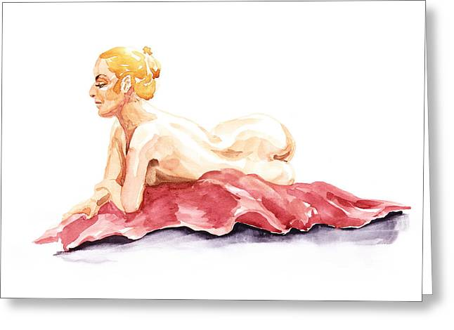 Gestures Greeting Cards - Nude Model Gesture XIV Resting On Red Greeting Card by Irina Sztukowski