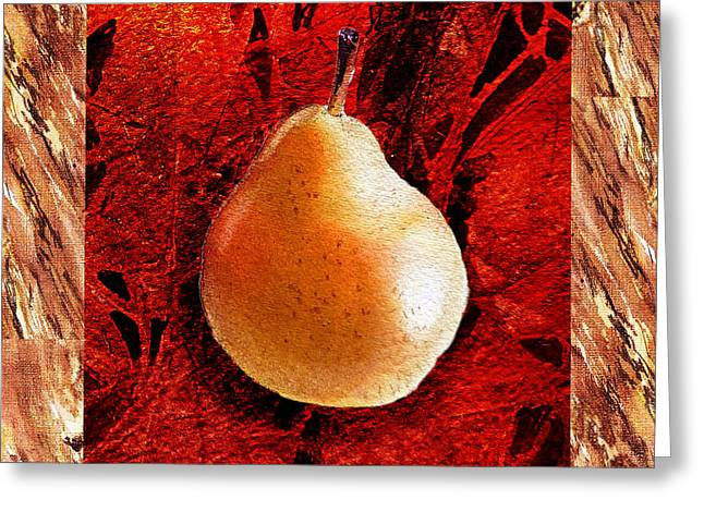 Brown Pears Greeting Cards - Nude N Beautiful Pear  Greeting Card by Irina Sztukowski