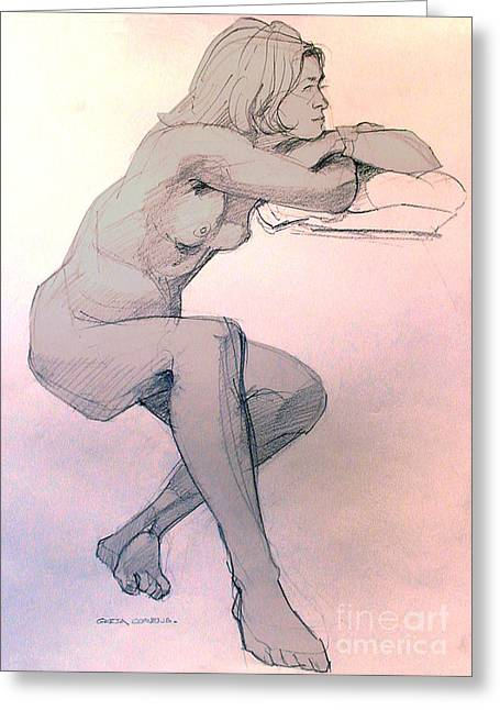 Recently Sold -  - Enhanced Greeting Cards - Nude of a dreamy young woman Greeting Card by Greta Corens