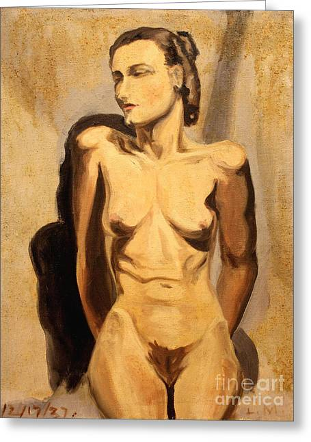 Seated Woman Greeting Card Greeting Cards - Nude of Hunger 1937 Greeting Card by Art By Tolpo Collection