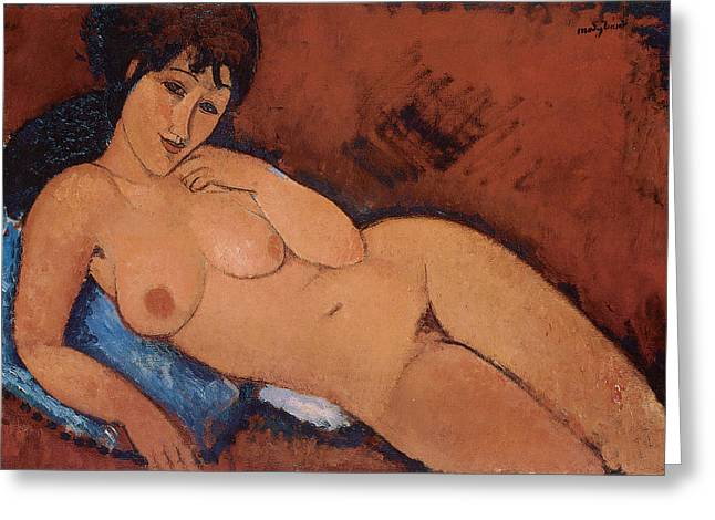 Cushion Greeting Cards - Nude on a Blue Cushion Greeting Card by Amedeo Modigliani