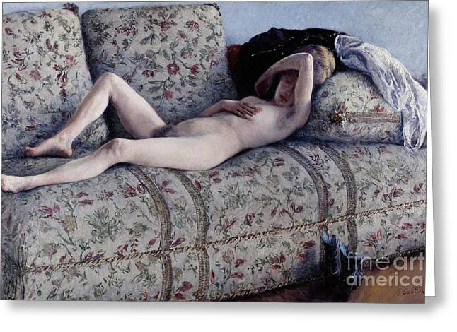 Draped Greeting Cards - Nude On A Couch Greeting Card by Gustave Caillebotte