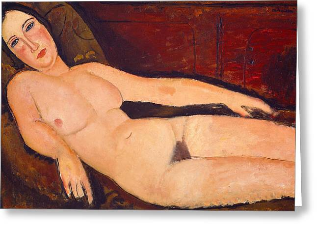 Divan Greeting Cards - Nude on a Divan Greeting Card by Amedeo Modigliani