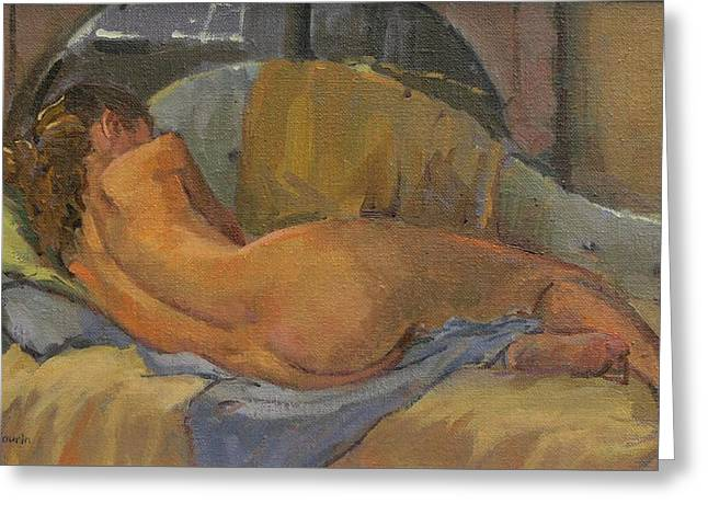 Nude On Chaise Longue Greeting Card by Pat Maclaurin