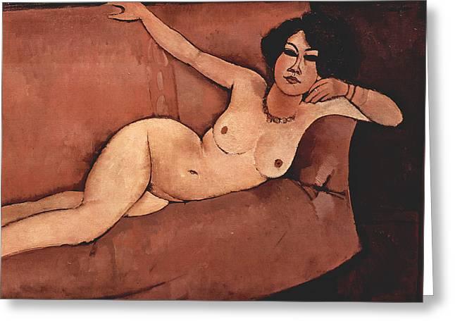 Modigliani Greeting Cards - Nude on Sofa Greeting Card by Amedeo Modigliani