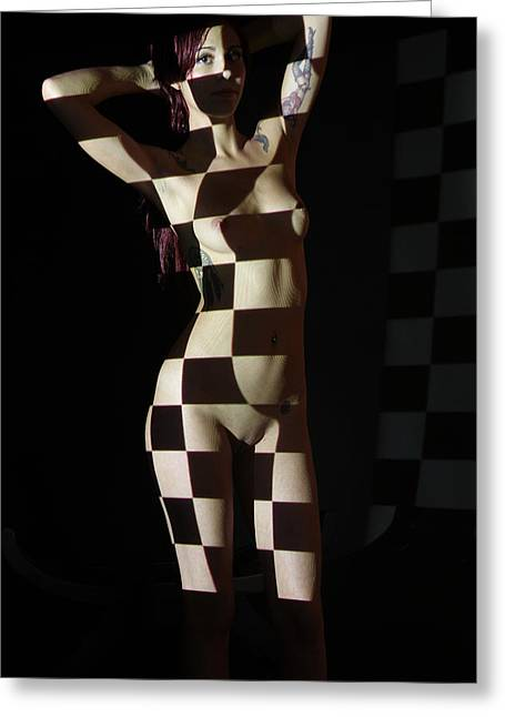 Artistic Beautiful Figure Study Greeting Cards - Nude- Optical Projection # 4 Greeting Card by Stephen Carver