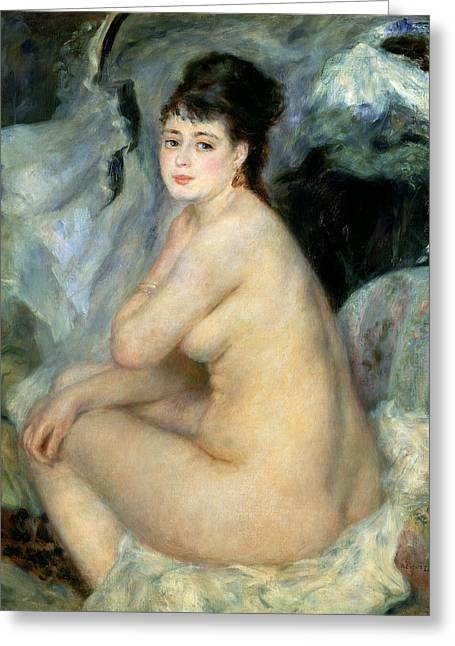Sincerity Greeting Cards - Nude or Nude Seated on a Sofa 1876 Greeting Card by Pierre Auguste Renoir