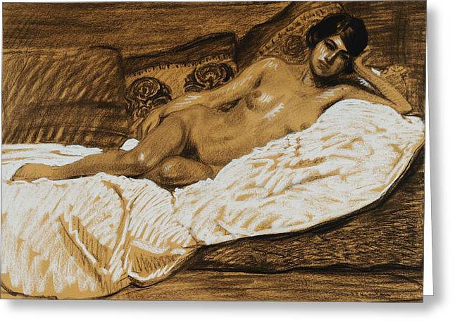 Short Hair Greeting Cards - Nude Outstretched Greeting Card by Theophile Alexandre Steinlen