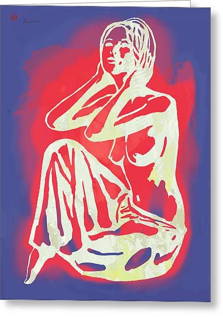 Horns Greeting Cards - Nude - pop art etching poster 2 Greeting Card by Kim Wang