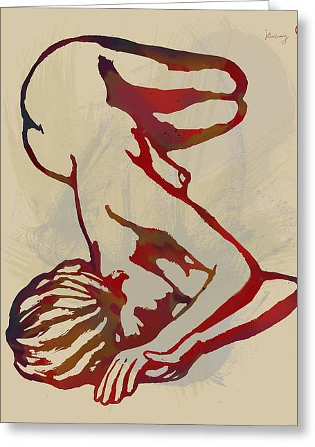 Horns Mixed Media Greeting Cards - Nude - pop art etching poster 3 Greeting Card by Kim Wang