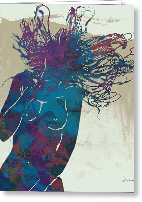 Horns Mixed Media Greeting Cards - Nude - pop art etching poster 5 Greeting Card by Kim Wang