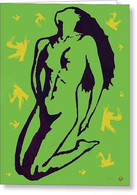 Horns Greeting Cards - Nude - pop art etching poster 8 Greeting Card by Kim Wang