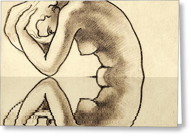 Thin Drawings Greeting Cards - Nude reflection Greeting Card by Odon Czintos