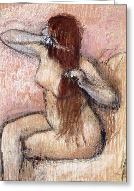 Sitting Pastels Greeting Cards - Nude Seated Woman Arranging her Hair Femme nu assise se coiffant Greeting Card by Edgar Degas
