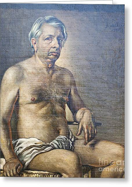 Chirico Greeting Cards - Nude self portrait by Giorgio de Chirico Greeting Card by Roberto Morgenthaler