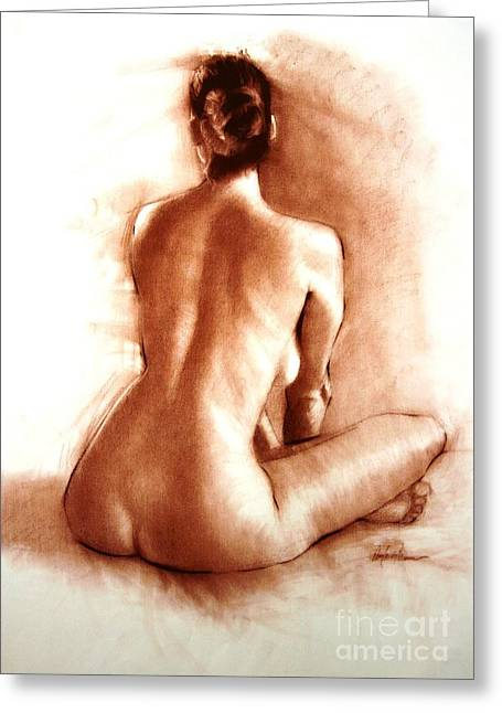 Sitting Pastels Greeting Cards - Nude sitting back Greeting Card by Doyle Shaw